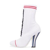 botas de tornozelo branco venda por atacado-Novo estilo meias botas estranho salto alto slip on white Stretch ankle boots moda tamanho grande sapatos mulher Listrado botas