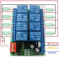 caméra à distance ptz achat en gros de-Commutateur à distance de module de relais de Modbus RTU 485 du module de relais DC 12V RS485 de 8 canaux pour la surveillance de sécurité d'appareil-photo de PTZ de PLC