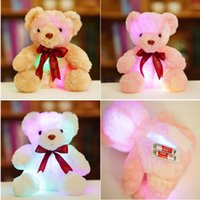 Wholesale Soft Teddy Bears Wholesalers - 20170702 HANCHENEXP Plush Stuffed Soft Toy Glowing Led Teddy Bear Light UP Plush Toy Flashing Teddy Bear Soft Insert Plush Doll