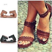 Wholesale Vintage Gladiator Shoes - Women Vintage Solid Color Sandals Round Toe Flat Beach Shoes Leather Shoes Boho Shoes Plus Size Elegant Sandals
