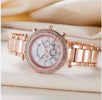Wholesale Double Diamond Watches - Hot sale new luxury Famous Brand fashion ladies Elegant designer Women Watches Double Diamonds Rose Gold Bracelet Steel strip date day clock