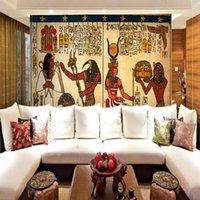 kutu duvar resmi toptan satış-Ücretsiz Kargo 3D Stereo Özel Yoga Salonu Duvar Kağıdı KTV Bar Kutusu Retro Mısır Şekil Yatak Oturma Odası Otel Restoran Duvar Kağıdı Mural