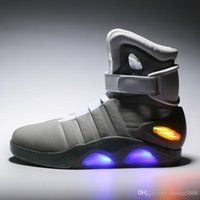 Wholesale Culture Led - Led Sneakers Marty McFly's LED Shoes Back To The Future Glow Dark Gray Black Mag Marty McFlys Sneakers Top quality Basketball Shoes
