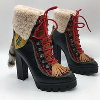 Wholesale Embellished High Heels - Black Leather Lace Up Ankle Boots With Yellow Stitching Women Fox Fur Crystal Embellished Platform Snow Boots High-heeled Pumps Warm Shoes