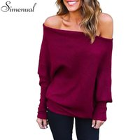 Wholesale Batwing Off Shoulder Tops - Wholesale-Off shoulder casual autumn long sweater knitted tops batwing sleeve loose solid women sweaters and pullovers jumpers 3 colors