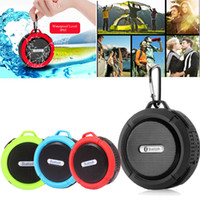 Wholesale Up Portable Stereo - C6 Bluetooth Speaker Portable Suction Cup Stereo Fashion Wireless Waterproof Hook up Handsfree Mini Audio Speaker with Mic