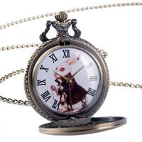Wholesale Ladies Watch Rabbit - Wholesale-2016 Lovely Alice in Wonderland The Rabbit Design Pocket Watch Women Ladies Girl Fob Watch Gift