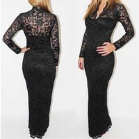 Wholesale Scallop Neck - Women Sexy V-Neck Slim Maxi Dress Scallop Neck Lace Women Long Dress Wedding Evening Party Free Shipping