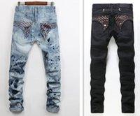 Wholesale Classic Men S Fashion - Men Straight Jeans Classic Denim Trousers designer biker Jeans For Men,High Quality Cotton Jeans Fried Snow Slim Jeans Rhinestone Decoration