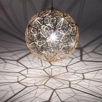 Wholesale Led Web Lights - Tom Dixon Etch Web Creative Arts Diamond Ball Hanging Lighting Pendant Lamp Gold Silver 40cm 60cm Ball Chandelier Lamp Available