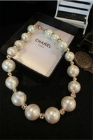 Wholesale Large Bead Pearl Necklaces - Hot Fashion Elegant Large Imitation Pearl Clavicle Short Paragraph Bride Bib Choker Beads Necklace Jewelry Collier MY-098