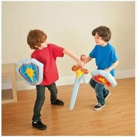 Wholesale Sword Child - 2sets Inflatable Toys Kid Inflatable Sword Shield Sets Not wounding weapon Baby Indoor Play Toys Children Toys