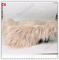 Wholesale Wholesale Fur Baby Blankets - Faux Fur Blanket 2017 New Baby Swaddle Blanket Newborn Photography Props Basket Faux Fur Soft Blanket Fur Wool Mat Background Carpet 41
