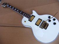 Wholesale Tremolo Lp - wholesale Free Shipping New Arrival Cibson lp standard electric guitar with floyd rose tremolo Top Quality In white 110517