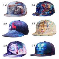 Wholesale Women Winter Baseball Hats - 2017 New 3D printing caps pattern sports hats baseball cap women men caps fitted snap fashion hip hop caps 34 styles K012