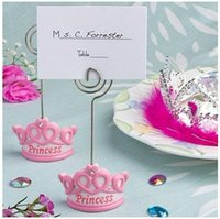 Wholesale Princess Baby Shower Place Cards - Baby Favors Pink Crown Themed Princess Place Card Holder or Name Card Holder For Baby Shower Wholesale 100pcs lot FREE SHIPPING