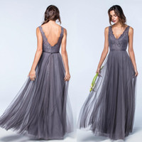 Wholesale Tulle Gown Lavender Sash - 2017 New Designed Lace Tulle Bridesmaids Dresses for Summer Weddings A Line V Neck Bohemian Pleats Wedding Guest Dresses Evening Gowns