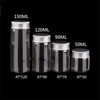 Wholesale Medicine Caps - New product 47mm Glass Bottle with Aluminium Lid Health Care Container Medicine Powder Jar Capsule Bottle Pill Box