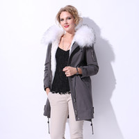 Liner pele de coelho bordado Made Cotton winter Real pelicula feminina parka Raccoon Dog Fur novo
