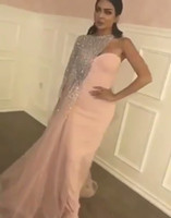Wholesale Sequined One Shoulder Evening Dress - 2017 Prom Dresses Matte Pink Sheath Split Evening Gowns with Blingbling Silver Sequined Beaded Asymmetrical One Shoulder Cape and Train