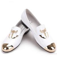 Wholesale White Skull Heels - Piergitar men white velvet shoes with skull buckle and gold toe British style men loafers luxurious men dress shoes men's flats
