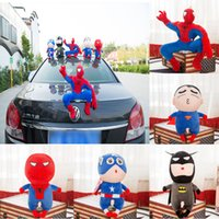 30 cm Plüsch Spider Man Auto Dekoration Basis mit Kleber Cartoon Action-puppe Superman Captain America Batman Spielzeug für Kinder