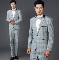 Wholesale Men S Suits Plaid - Grey fashion plaid formal dress set men suit latest coat pant designs mens suits with pants wedding suits for men suit + pant + tie S - 2XL