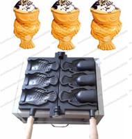 máquina taiyaki al por mayor-Envío gratis 110 V 220 V máquina de gofres de pescado taiyaki con helado eléctrico, 3 unids boca abierta fabricante de gofres de pescado con helado de Corea MYY