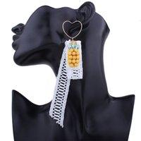 abacaxi de strass venda por atacado-Moda feminina Bohemian Brinco Novo Simples Strass Cristal Abacaxi Rendas Coração Em Forma de Brinco E09101