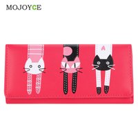Wholesale Luxury Leather Portfolios - Wholesale- Lovely Candy Color PU Leather Wallet Women Cartoon Cat Printed Portfolio Wallet Women Luxury Brand Clutch Purse Card Holde 1STL