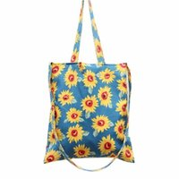 Wholesale Wholesale Sunflower Shopping Bags - Wholesale- Naivety 2016 New Cotton Canvas Women Sunflower Printing Shoulder Bags Portable Shopping Bag Bolso De Compras 11S61006