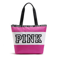 Wholesale Nylon Beach Bags Sale - 2017 Hot Sale! Pink Letter Handbags Secret VS Shoulder Bags Women Love Large Capacity Travel Duffle Striped Waterproof Beach Bag Shoulder