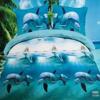 Wholesale Dolphin 3d Bedding Set - Wholesale- amazing 3d dolphin bedding set queen size 4pcs duvet doona cover bed sheet pillow cases bed linen set
