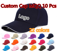 Wholesale Custom Hat Embroidery Wholesale - 6 Panels Plain Cotton Baseball Caps With Sandwish Adjustable Strapback Custom Printing Embroidery Logo For Adults Sports Hats MQQ 10 Pcs