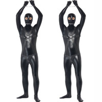 Wholesale Zentai Sex Costume - New Faux Leather Zentai for Tall Men Sexy Gay Catsuit Male Fetish Body Harness Costume Sex Restraint Teddy Sexy Unitard Clothes
