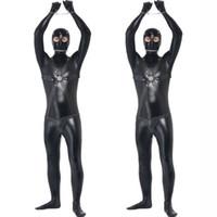 erkek seksi kıyafetler toptan satış-Uzun Erkekler için yeni Faux Deri Zentai Seksi Eşcinsel Catsuit erkek Fetiş Vücut Koşum Kostüm Seks Hakim Teddy Seksi Unitard Giysileri
