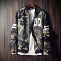Wholesale Fashion Camouflage Jacket Men Striped Bomber Jacket Male Casual Baseball Collar Mens Jackets and Coats XL Windbreaker Male