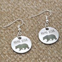 ours boucles d'oreilles achat en gros de-Boucles d'oreille breloque Maman ourson cadeau argenté