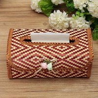 Wholesale Vintage Paper Towel - Wholesale- Bamboo Tissue Box Paper Napkin Holder Kitchen Towel Tube Container Car Facial Tissue Vintage Decorating Case Handmake