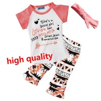 Wholesale Cute Wholesale Girls Tshirts - Newest HOT Girls summer sets Childrens Clothing Sets Short Sleeve tshirts Printed Pants 3 Piece Clothes Suits Boutique JC90