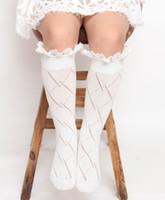 Wholesale Diamond Baby Socks - 2017 New Baby Girl Socks Lace Diamond Knee Length Socks 3-10Y MZ239