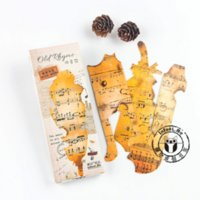 Wholesale Cute Bookmark Diy - Wholesale-30Pcs pack Cute Retro Music Notes Paper Bookmark Card DIY Postcard Bookmarks Message Cards Cute Stationery Office Supplies