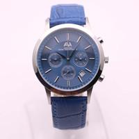 часы хронограф механическая кожа оптовых-7types 2017 новый бренд AEHIBO часы мужчины синий лицо серебряный чехол синий кожаный часы кварцевые VK механические супер хронограф часы мужские часы