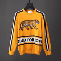 Wholesale Wool Shirts For Men - Latest black Tiger blind for love embroidery Winter Casual Sweater Brand Clothing Long Sleeve Mens Sweaters classic Shirt Pullover O-Neck