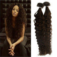 Wholesale Nail Tip Curly Hair Extensions - #4 Dark Brown Brazilian Deep curly U Tip Nail Tip Hair Extensions 100g strands Remy Human Hair Keratin Fusion Hair Extensions