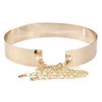 Wholesale Black Gold Wide Belt - Wholesale- 1pc Women Metallic Gold Plate Wide Belt Cummerbunds Punk Full Metal Mirror Surface Waist Belt With Chains Lady Fashion 0043
