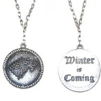Wholesale Silver House Pendant - 12pcs Game of Thrones Stark House Symbol Wolf Pendant Necklace Unisex Winter Is Coming with Antique Silver