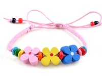 Wholesale Girls Flower Bracelets - Wholesale- 10 Colors Wooden Flower Beads Bracelet Wristband Adjustable Ethnic Handmade Woven Rope Bracelet & Bangles For Women Girl