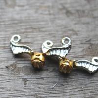 Wholesale P Pendants - 10pcs-- h p snitch Charms, Antique Tibetan Silver snitch charm pendants 26x15mm