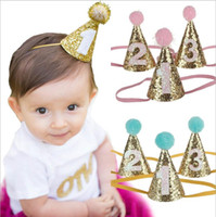 Wholesale wholesale headbands supplies - baby glitter Birthday crown Headbands Girls cone shape Hairband Kids party supplies princess tiara Hat boutique hair accessories KHA479